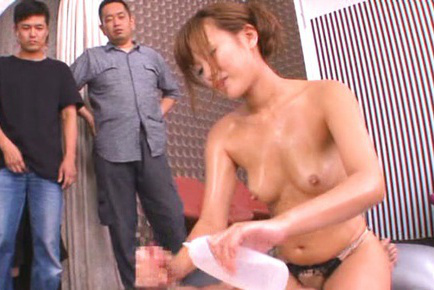 Kokone mizutani. Kokone Mizutani Asian gives man Nuru massage with dudes watching