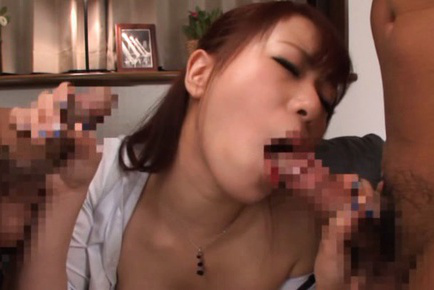 Riri ouka. Awesome Riri Ouka has hot fun with two boys in the livingroom