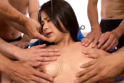 Kana tsuruta. Babe Kana Tsuruta loves oiling of her breasts by a group of guys