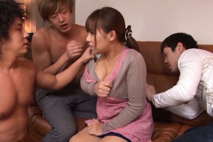Japanese av model. Japanese AV Model busty in apron is touched all over by fellows