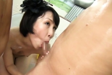Japanese av model. Japanese AV Model and babe clean men cocks before suc them