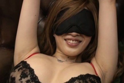 Reira akane. Reira Akane with covered eyes and big breasts has