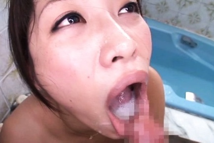 Miku sunohara. Miku Sunohara Asian give suck cock and shows mouth full of cumshot after
