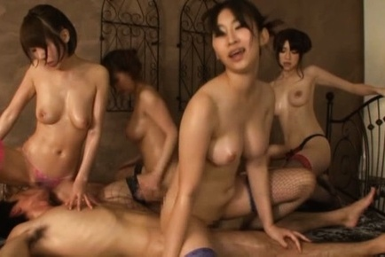 Yuuka tachibana. Yuuka Tachibana and babes in fishnets ride woodies in great orgy